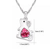 Image of Rat Crystal Pendant Necklace - Mouse Pink Heart Pendant