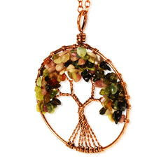Luvalti Tree of life - Gemstone Chakra Jewelry Pink Colorful Bronze Chain Necklace