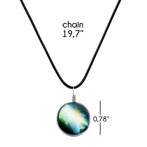 Galaxy & Cosmic Green Glass Pendant Necklace