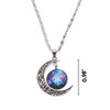 Image of Galaxy & Crescent Cosmic Purple Blue Moon Pendant Necklace
