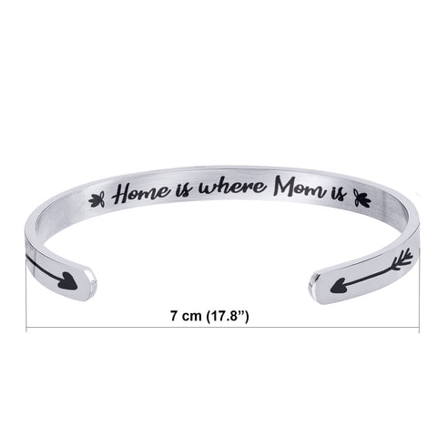 Stainless Steel Bracelet - Cuff Bracelet - Home is Where Mom is