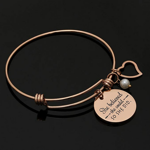 She Believed she Could so she did - Inspirational Bangle Bracelet Jewelry Set