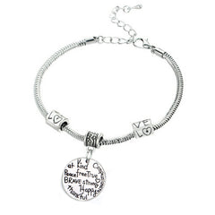 Kind Free Peace True Pendant Charm Bracelet