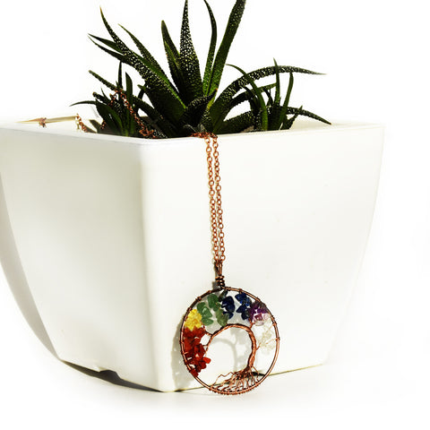 Tree of life - Gemstone Chakra Jewelry Colorful Bronze Chain Necklace