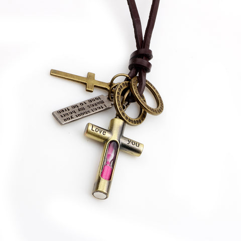"""I feel about you - makes my heart lone to be free"" Cross Hourglass Necklace Christian Jewelry"