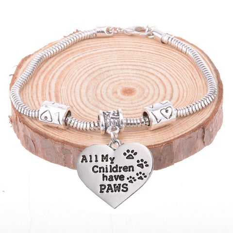 All My Children Have Paws Dog Pendant Bracelet Paw Print Jewelry