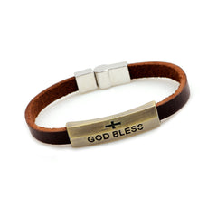 God Bless Cross Leather Bracelet - Christian Jewelry for Men and Women
