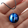 Image of Galaxy & Cosmic Blue Glass Pendant Necklace