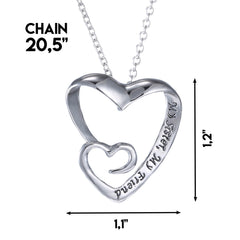 My Sister, My Friend - Heart Pendant Sister Necklace