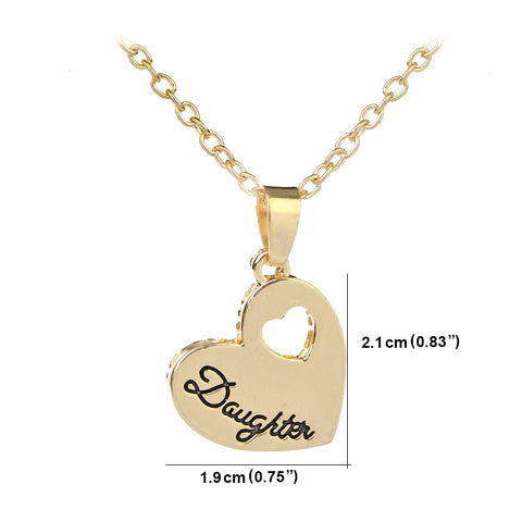 Daughter - Heart Pendant Necklace - Personalized Jewelry Gift
