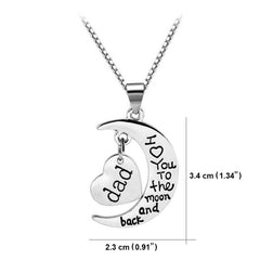 Dad I Love You to The Moon and Back - Personalized Jewelry Necklace Gift