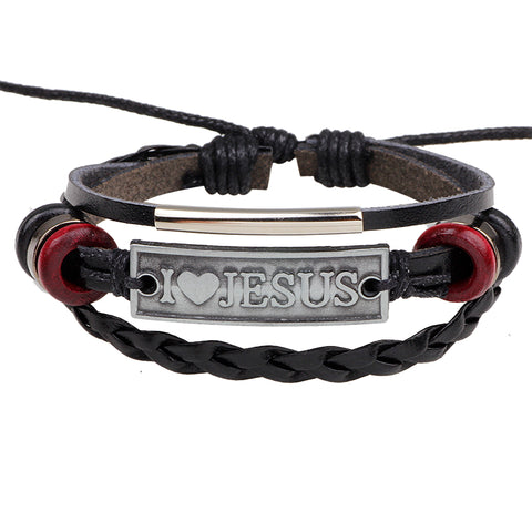 "Luvalti ""I love Jesus"" Red and Brown Leather Bracelet- Christian Jewelry for Men and Women"