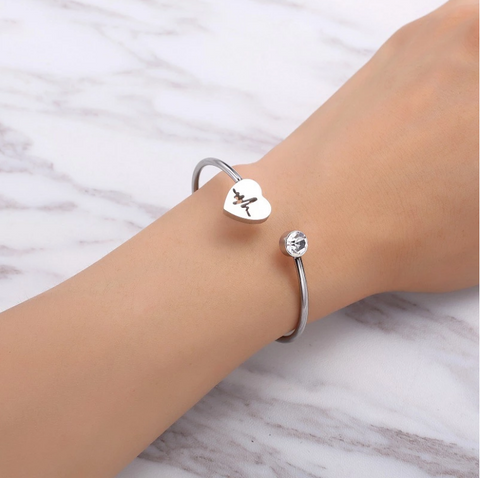 Luvalti Womens Path Symbols - Love Nurse Bracelet, Heartbeat EKG Adjustable Silver Open Cuff Heart Bangle Bracelet
