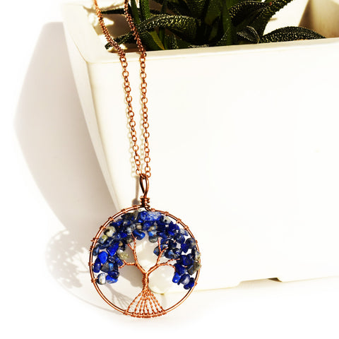 Tree of life - Gemstone Chakra Jewelry Dark Blue Bronze Chain Necklace