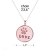 Image of Pink LOVE Pendant Necklace - Glow in Dark - Paw Print Jewelry