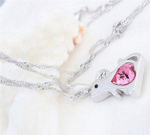 Rat Crystal Pendant Necklace - Mouse Pink Heart Pendant