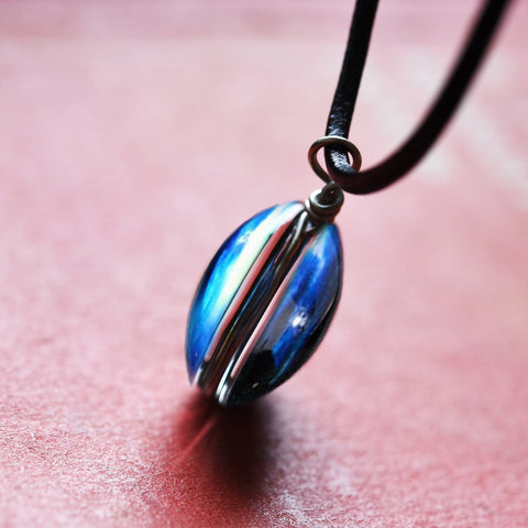 Galaxy & Cosmic Blue Glass Pendant Necklace