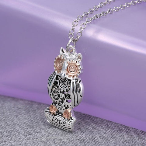 Owl Pendant Necklace for Women - Gear Pendant Necklace - Fashion Jewelry