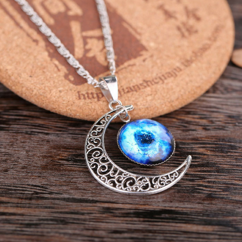 Galaxy & Crescent Cosmic Blue Moon Pendant Necklace