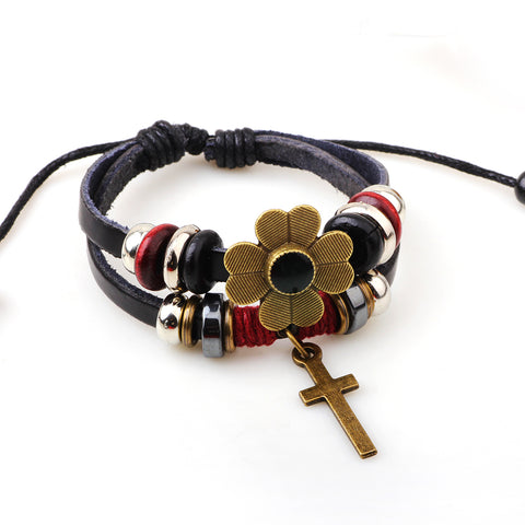 Luvalti Flower Cross Leather Bracelet - Christian Jewelry for Men and Women