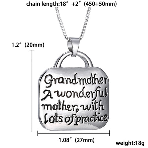 "Luvalti ""Grandmother A wonderful mother with Lots of practice"" – Family Pendant Necklace"