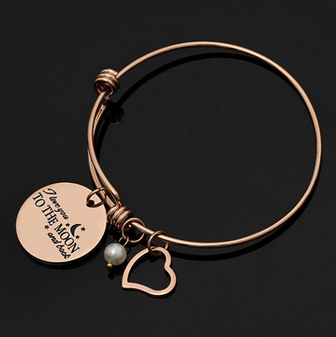 Charm Bracelet I Love You to The Moon & Back Adjustable Bangle Gift for Women