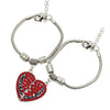 Image of Set of 2 Red Mother & Daughter Heart Bracelets