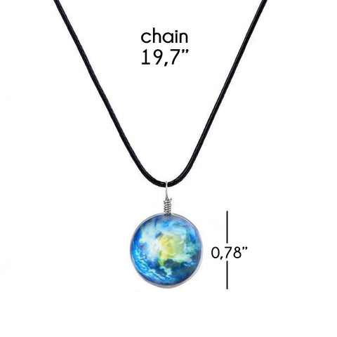 Galaxy & Cosmic Earth Glass Pendant Necklace