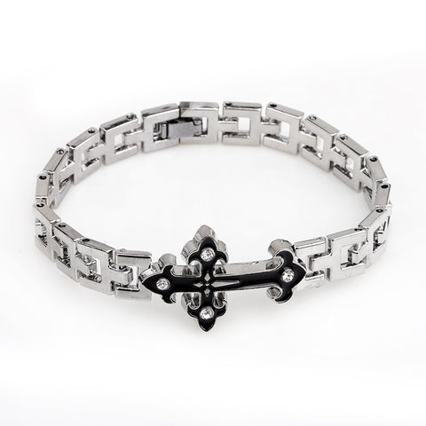 Silver Cross Bracelet - Christian Jewelry for Men and Women