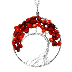 Luvalti Tree of life - Gemstone Chakra Jewelry Red Silver Chain Necklace