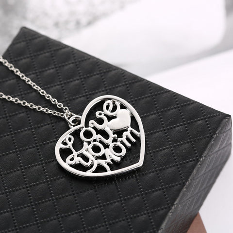 Love You Mom Heart Pendant Necklace - Personalized Jewelry Gift