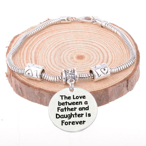 The Love between a Father and Daughter is Forever Pendant Bracelet - Father Daughter Bracelet