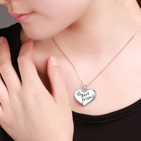 Best Friend Heart Pendant Necklace