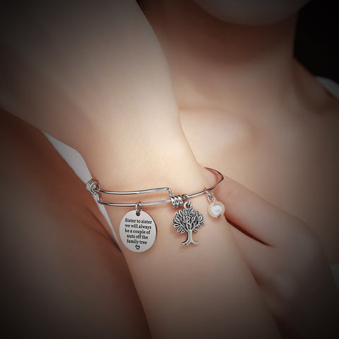 Luvalti Bangle Bracelet Engraved Sister to sister we will always be a couple of nuts off the family tree Inspirational Jewelry, for Christmas Day, Thanksgiving Day and Birthday Charm Bracelet Adjustable