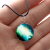 Image of Galaxy & Cosmic Green Glass Pendant Necklace