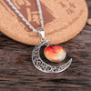 Image of Galaxy & Crescent Cosmic Orange Moon Necklace