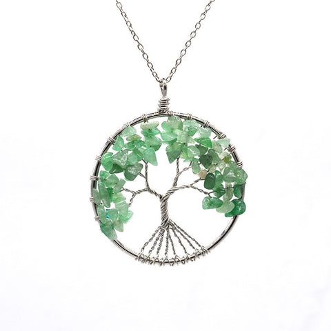 Tree of life - Gemstone Chakra Jewelry Green Silver Chain Necklace