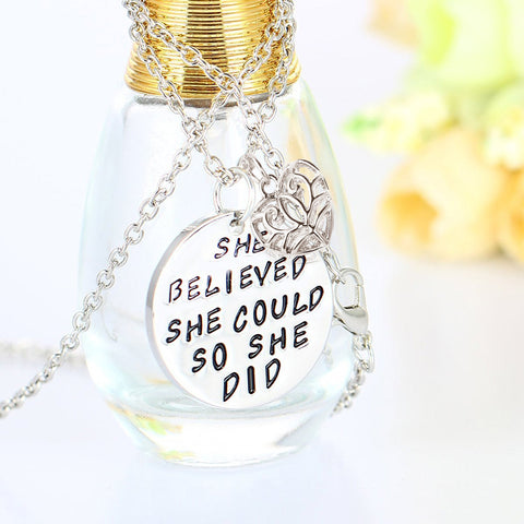 She believed she could so she did - Inspirational Pendant Necklace