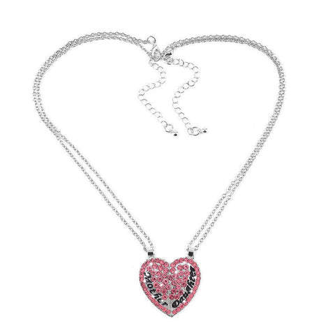 Mother & Daughter Set of 2 Pink Heart Necklaces