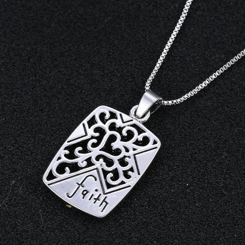 Faith Engraved Pendant Necklace - Christian Jewelry for Women - 18''