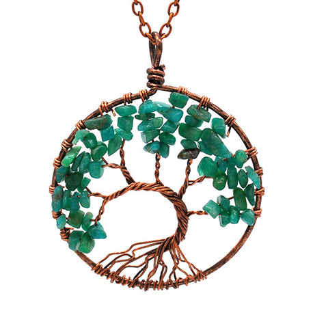 Tree of life - Gemstone Chakra Jewelry Green Bronze Chain Necklace