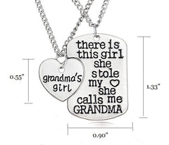 Grandma's Girl Pendant Set Necklace - Grandma and Granddaughter Necklace