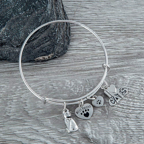 Cat Lover Bangle Bracelet - Perfect Cat Owner Gift Idea
