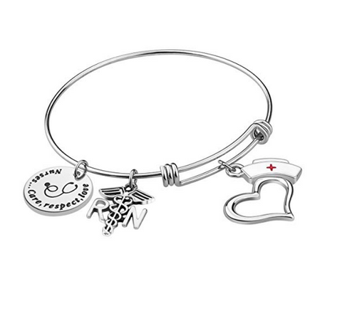 Nurse Bangle Bracelet Gifts - Women Girl Expendable Caduceus Angle Charm Bracelet