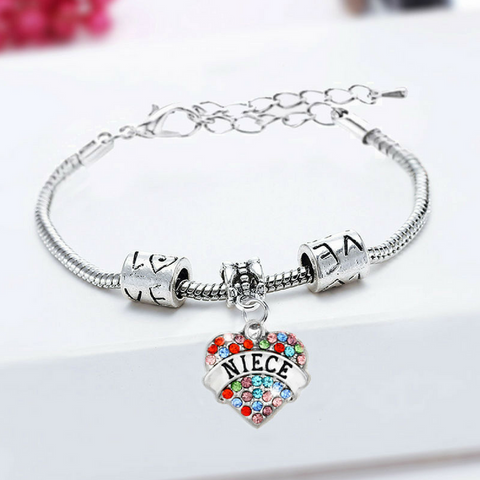 Niece Heart Colorful Charm Bracelet