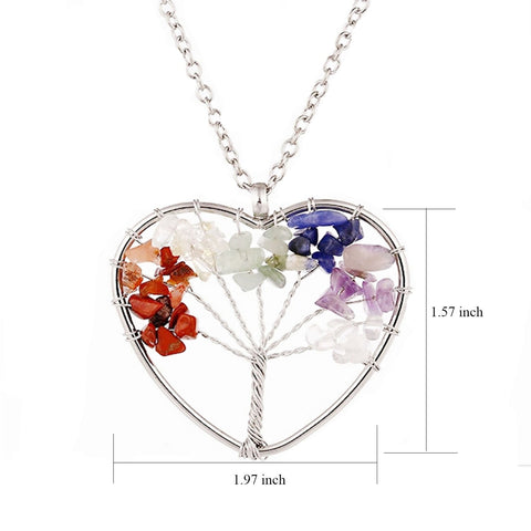 Tree of life - Gemstone Chakra Jewelry Colorful Heart Silver Chain Necklace