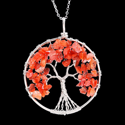 Luvalti Tree of life - Gemstone Chakra Jewelry Red Orange Silver Chain Necklace
