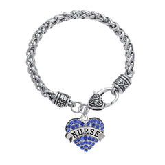 Nurse Blue Heart Charm Bracelet