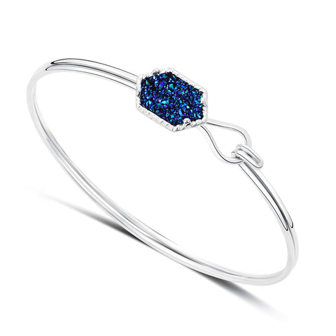 Unique Elegant Jewelry Princess Blue Crystal Cluster Bangle Bracelets Silver Plated