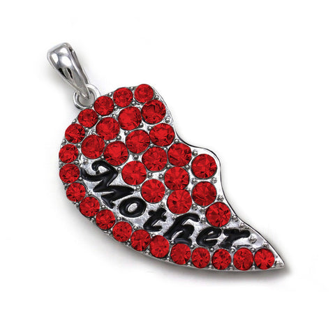 Mother Half Red Heart Pendant Bracelet